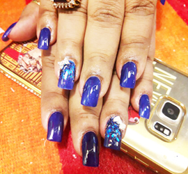 KALAKRITI NAIL ART BLUE WITH WHITE DIAMOND